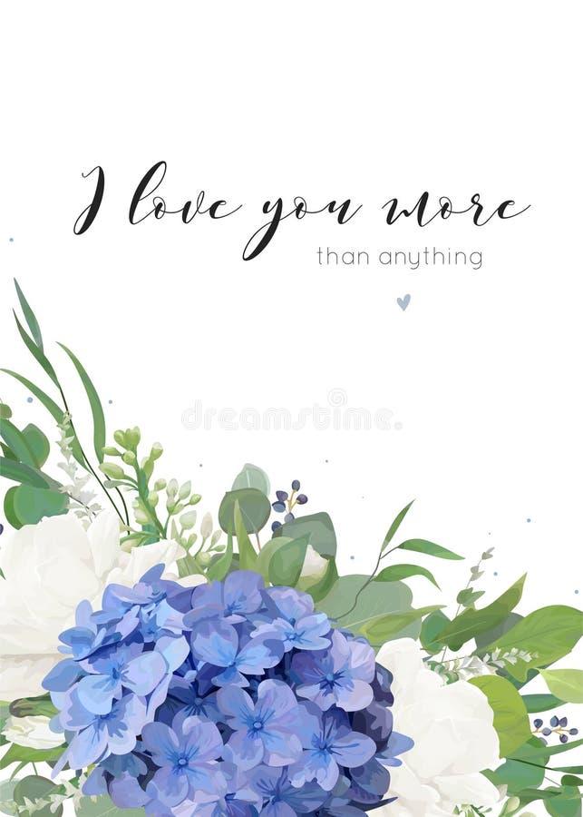 Wektorowy kwiecisty kartka z pozdrowieniami projekt z eleganckim bukietem błękitne hortensja kwiatu bielu ogródu róże, eukaliptus royalty ilustracja