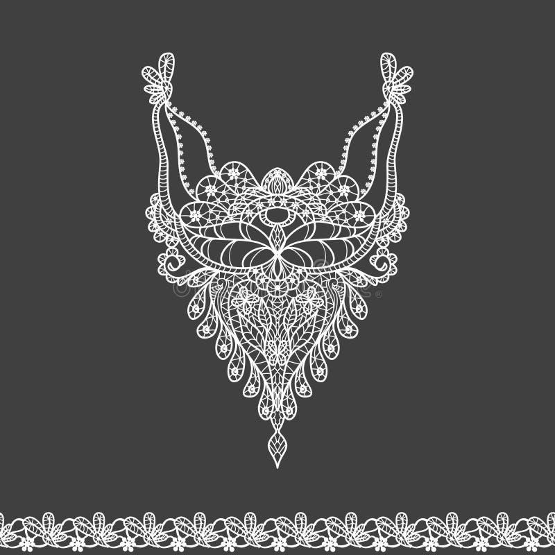 Wektorowy kwiecisty neckline i koronki granicy projekt dla mody Kwiatów i liści szyi druk Klatki piersiowej koronkowy zdobienie ilustracja wektor