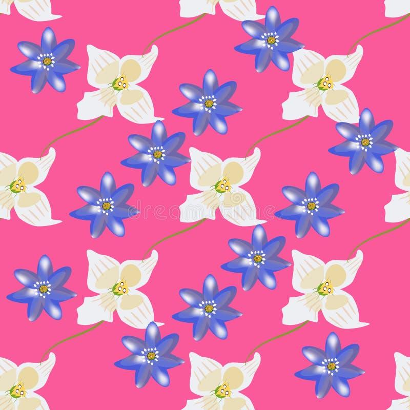 Wektorowy kwiecisty patterne z kwiatami i liśćmi Delikatny, wiosny kwiecisty tło royalty ilustracja
