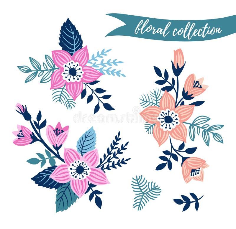 Wektorowy kwiecisty set Kolorowa kwiecista kolekcja z liśćmi i kwiaty wręczamy patroszonego ilustracja wektor