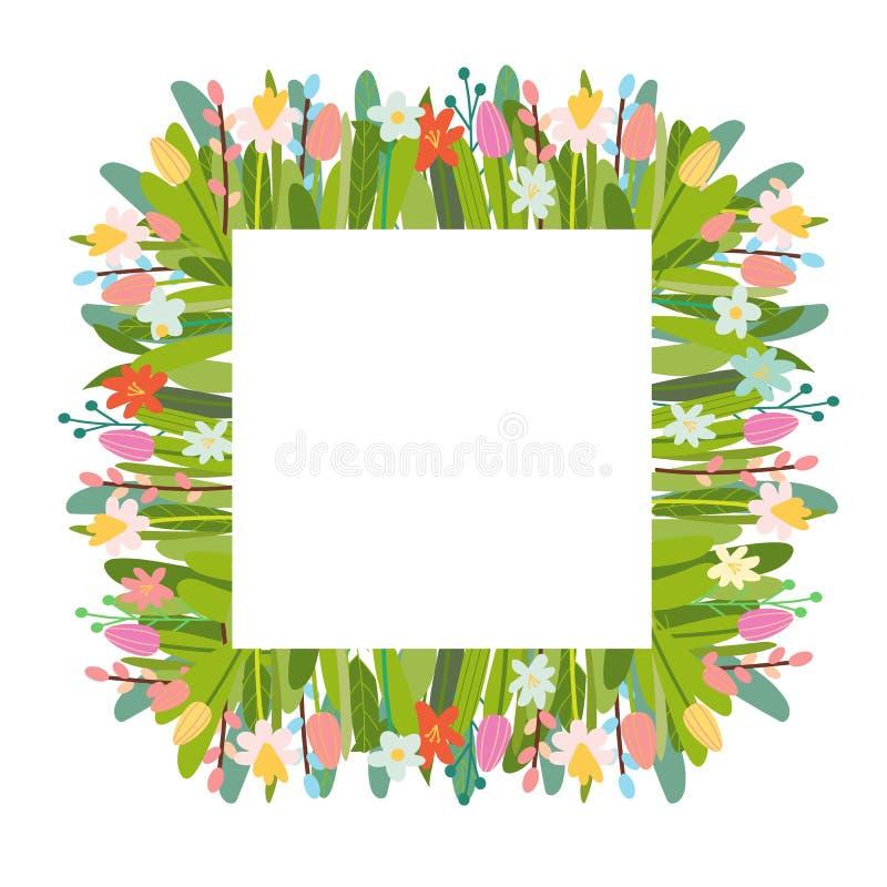 Wektorowy kwiecisty tło z Wielkanocnymi elementami i kwiatami ilustracji