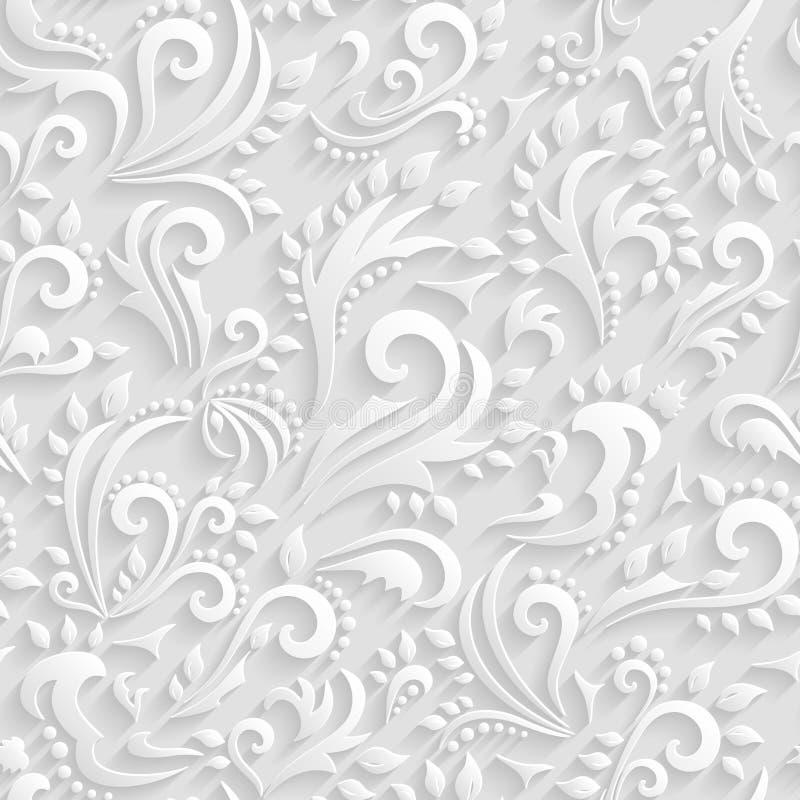 Wektorowy Kwiecisty Wiktoriański Bezszwowy tło Origami 3d zaproszenie, ślub, Papierowych kart Dekoracyjny wzór royalty ilustracja