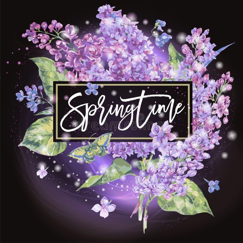 Wektorowy kwiecisty wiosny kartka z pozdrowieniami bez ilustracji