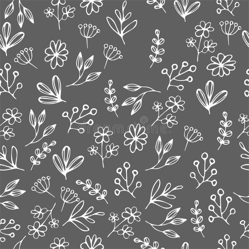 Wektorowy kwiecisty wzór w doodle stylu z kwiatami i liśćmi Delikatny, wiosny kwiecisty tło ilustracji