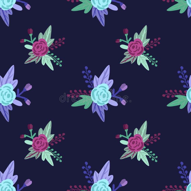 Wektorowy kwiecisty wzór z różami i liśćmi fiołkowymi i błękitnymi ilustracja wektor