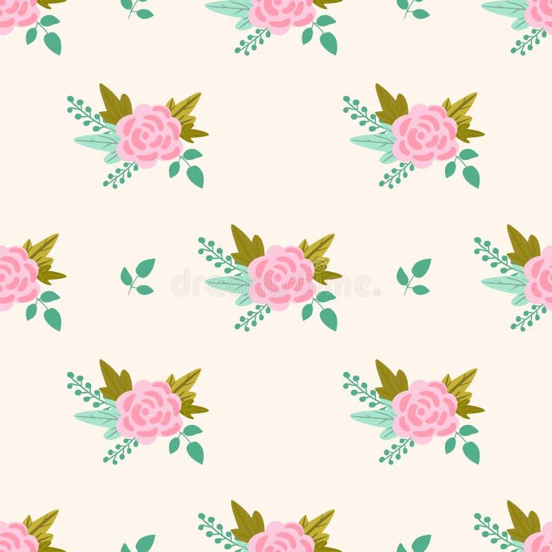 Wektorowy kwiecisty wzór z różowymi różami i liśćmi obrazy stock