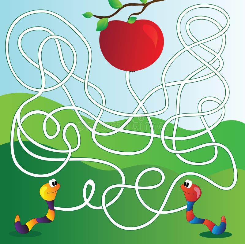 Wektorowy labirynt, labitynt edukaci gra dla dzieci ilustracja wektor
