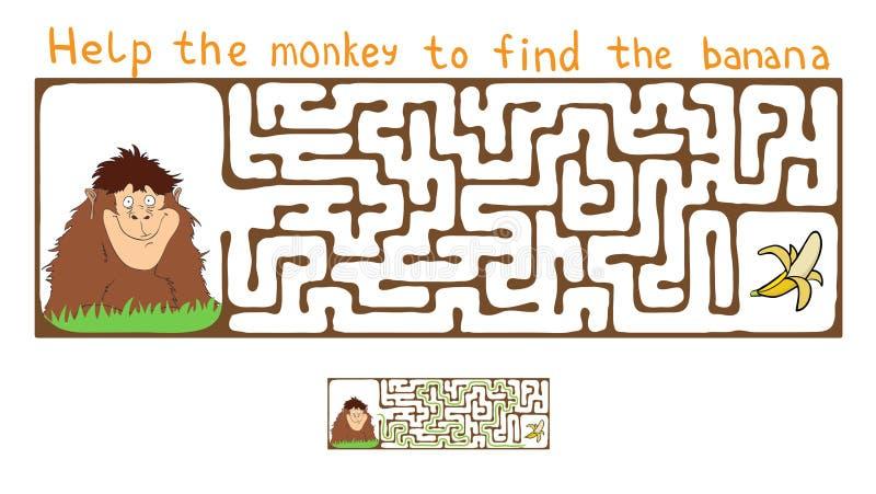 Wektorowy labirynt, labitynt z małpą i banan, ilustracji