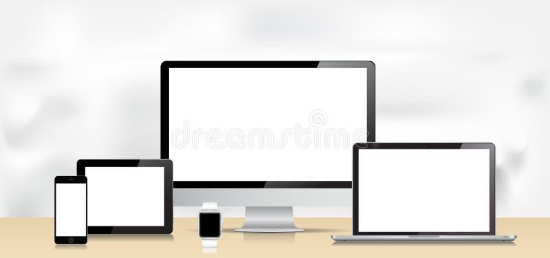 Wektorowy laptopu Smartphone Smartwatch pastylki komputer stacjonarny ilustracja wektor