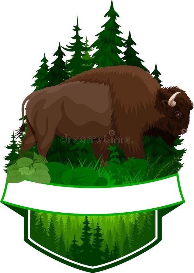 Wektorowy lasu emblemat z brown zubr bizonu żubrem ilustracja wektor