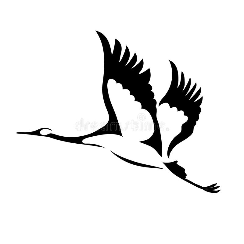 Wektorowy latający żuraw royalty ilustracja