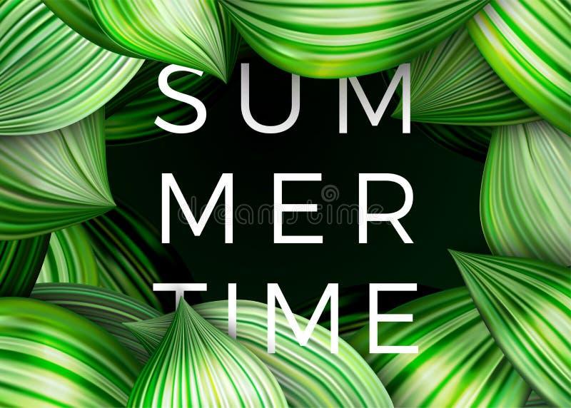 Wektorowy lato czasu plakat, zieleń opuszcza abstrakt royalty ilustracja