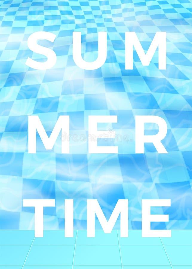 Wektorowy lato czasu plakatowy projekt, błękitne wody basen ilustracja wektor