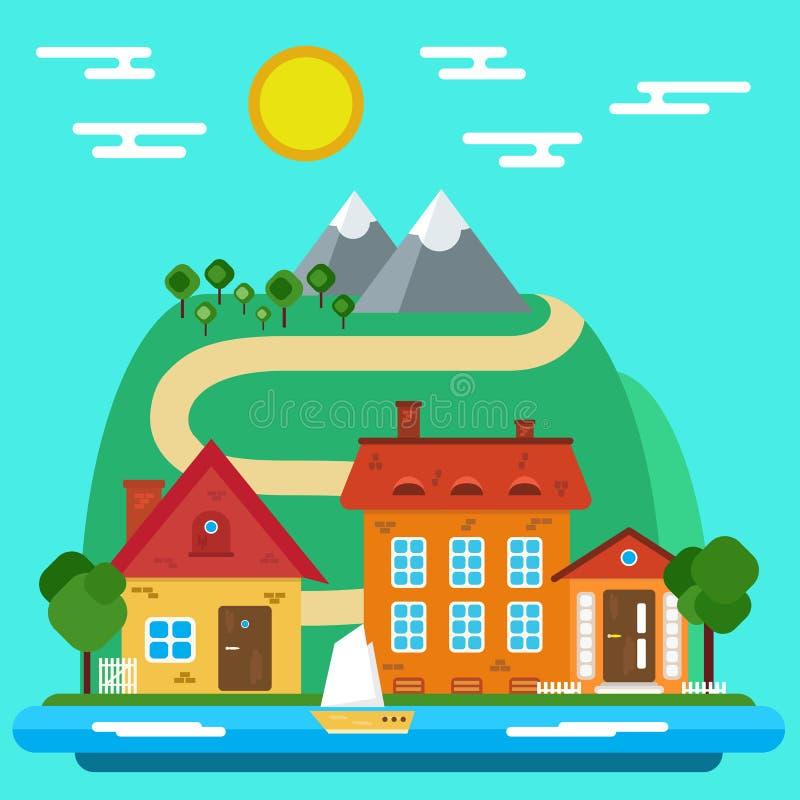 Wektorowy lato krajobraz z domem w Płaskim projekcie ilustracja wektor