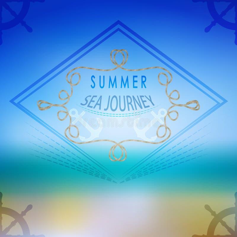 Wektorowy lato ocean, zamazujący krajobraz, interfejs Korporacyjna sieć ilustracja wektor