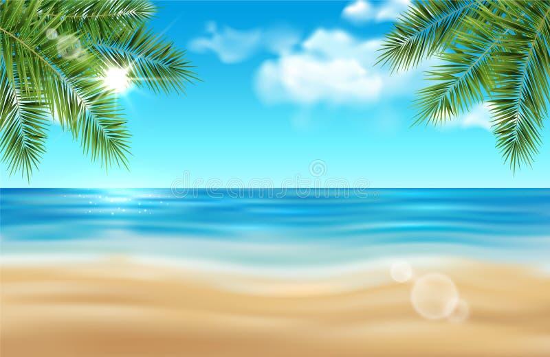 Wektorowy lato plaży krajobraz z drzewkami palmowymi, morze, olśniewający słońce ilustracja wektor