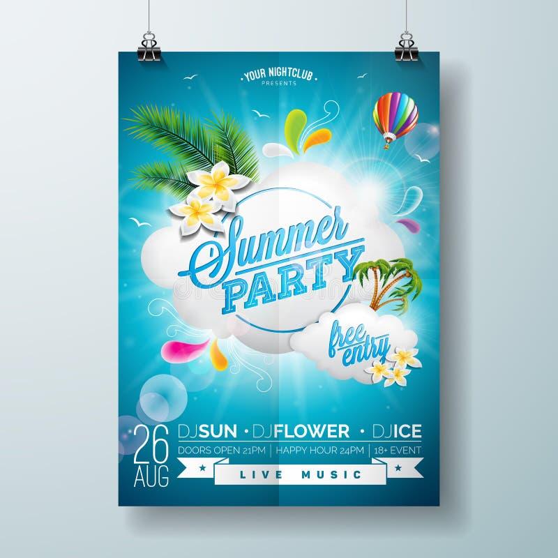 Wektorowy lato plaży przyjęcia ulotki projekt z typograficznym projektem na natury tle z obłocznym i lotniczym balonem ilustracja wektor