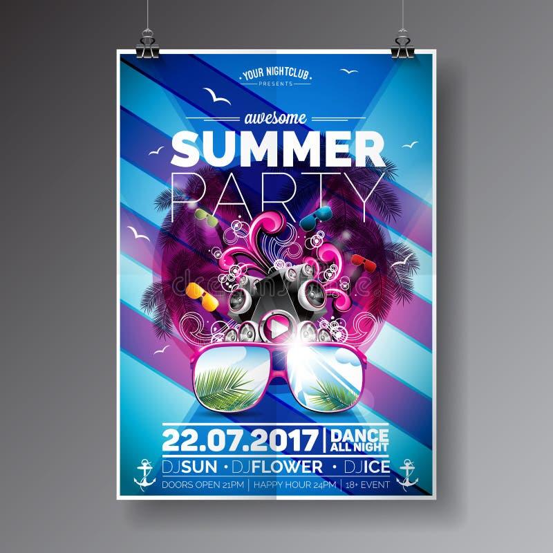 Wektorowy lato plaży przyjęcia ulotki projekt z typograficznymi i muzycznymi elementami na błękitnym palmowym tle Mówcy i okulary ilustracja wektor