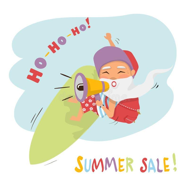 Wektorowy lato sprzedaży pojęcie z Santa ilustracja wektor