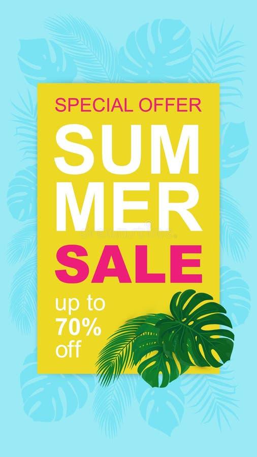 Wektorowy lato sprzedaży sztandar z tropikalnymi liśćmi dla opowieści ilustracja wektor
