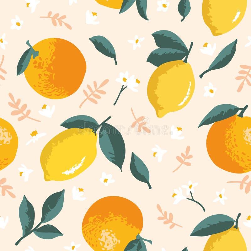 Wektorowy lato wzór z cytrynami, pomarańczami, kwiatami i liśćmi, royalty ilustracja
