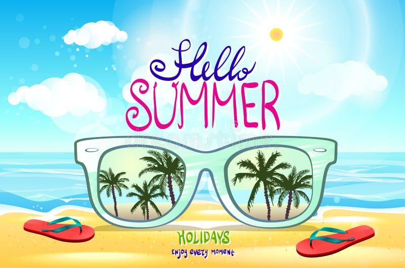 Wektorowy lato zamazywał tło ilustraci wektor plażowy, z okularami przeciwsłonecznymi, ilustracja wektor