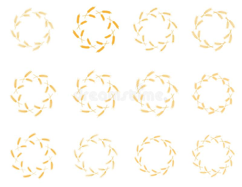 Wektorowy Laurowy wianek flor temat na białym tło secie ilustracji