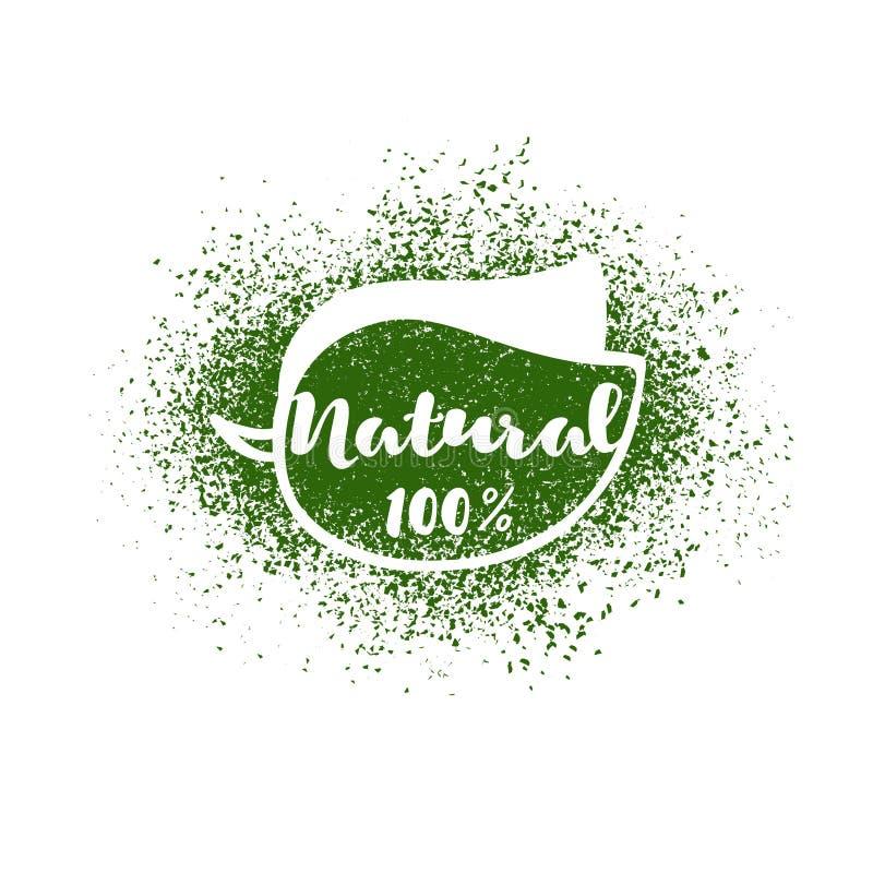 Wektorowy liść z literowaniem: naturalni 100 procentów ilustracji