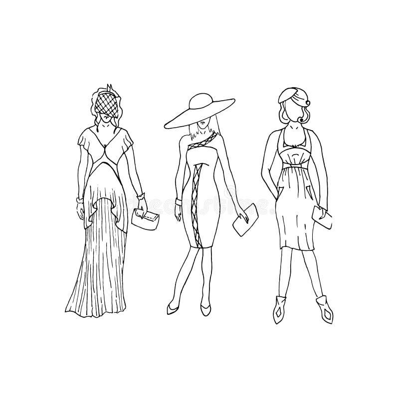 Wektorowy liniowiec mody illustaration elegancji kobieta ilustracja wektor