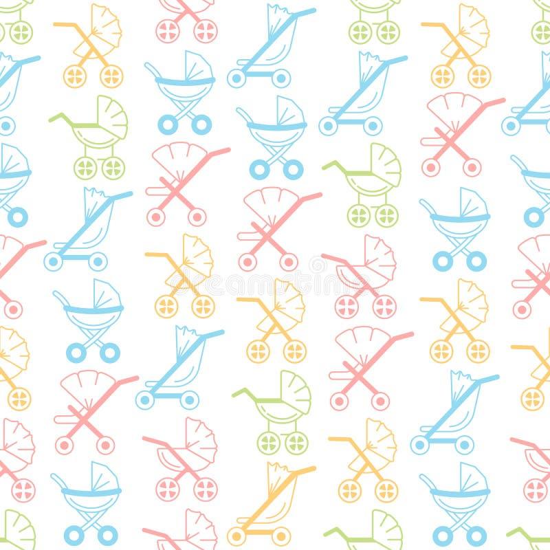 Wektorowy liniowy bezszwowy wzór z dziecko spacerowiczami i frachtami ilustracja wektor