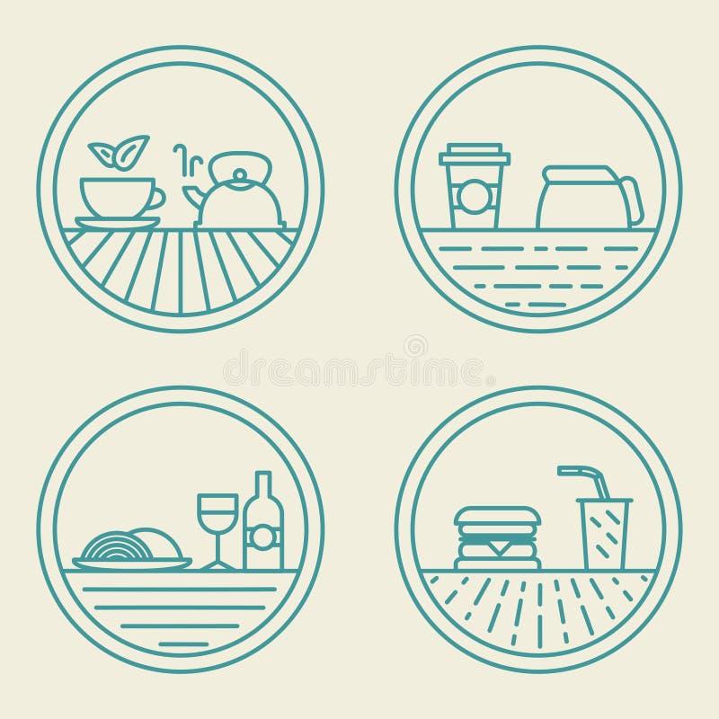 Wektorowy liniowy odznaka szablonów fasta food pojęcie wewnątrz ilustracja wektor