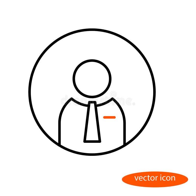 Wektorowy liniowy wizerunek biznesowy mężczyzna w krawacie, mieszkanie kreskowa ikona ilustracja wektor