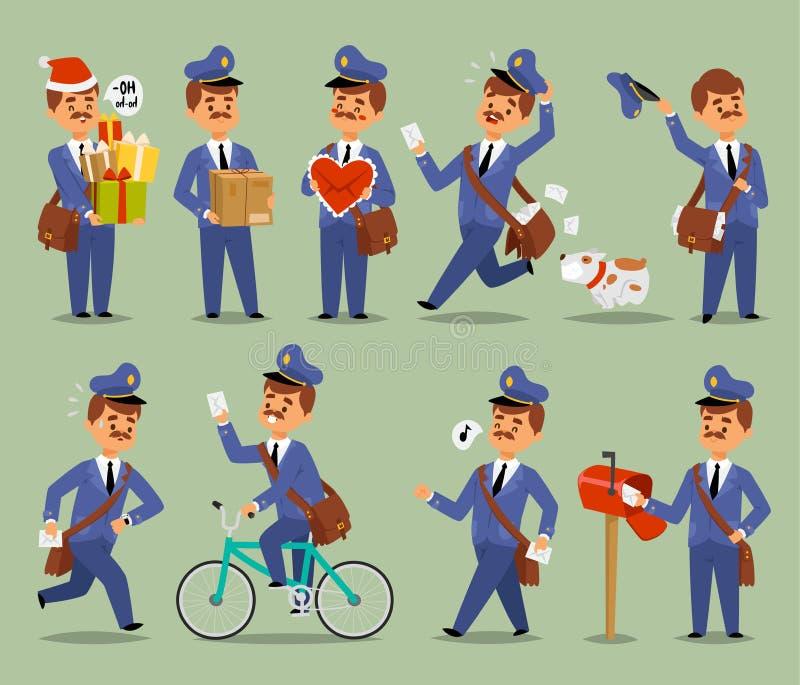 Wektorowy listonosz kreskówki mężczyzna charakteru kuriera zajęcia przewoźnik Ślicznego wąsy mężczyzna munduru poczta listów dorę ilustracji
