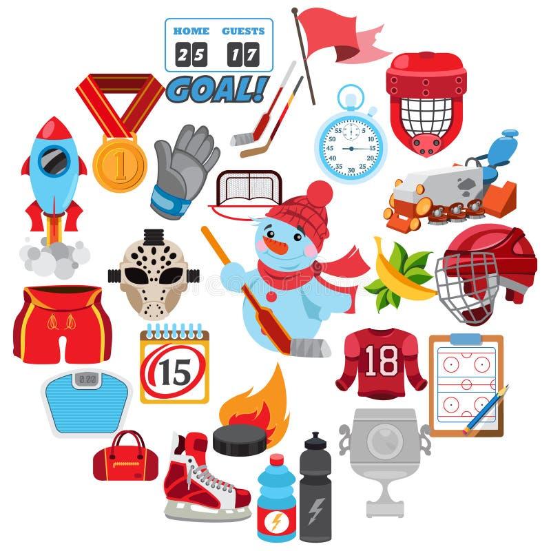 Wektorowy lodowego hokeja ikony set ilustracji