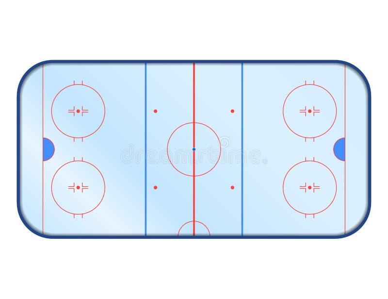 Wektorowy lodowego hokeja lodowisko z marżą Odizolowywający na bielu ilustracja wektor