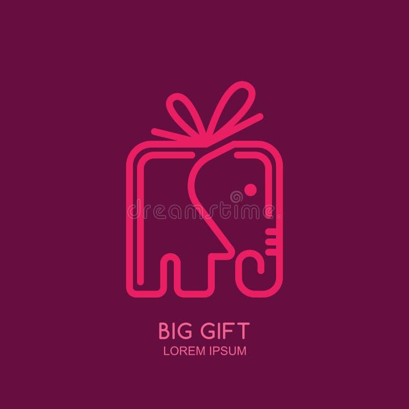 Wektorowy loga, etykietki lub emblemata projekta szablon z liniowym stylowym słonia prezenta pudełkiem, ilustracji