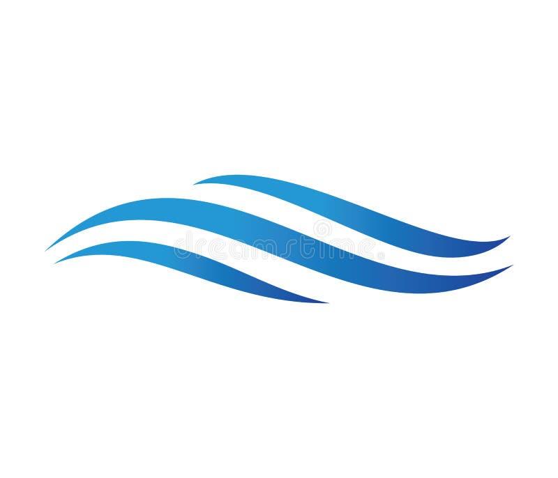 Wektorowy loga projekt dla dynamicznej fala, ocean wody morskiej fala domu kurort, żeglowanie łódź, oceanu rejsu wycieczka turysy royalty ilustracja