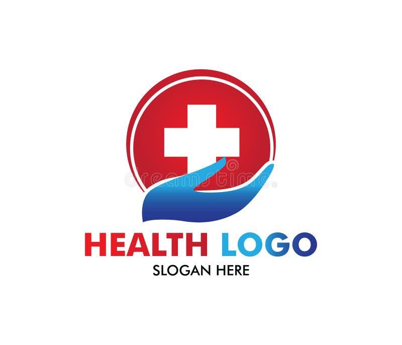 Wektorowy loga projekt dla opieki zdrowotnej, rodzinna zdrowa kliniki lekarka, wellness centrum, apteka, medyczna klinika, ilustracja wektor