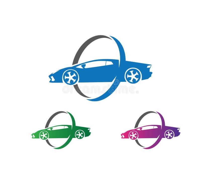 Wektorowy loga projekt ubezpieczenie samochodu, samochodowa utrzymanie usługa, samochodowa ochrona, samochodowy występ royalty ilustracja