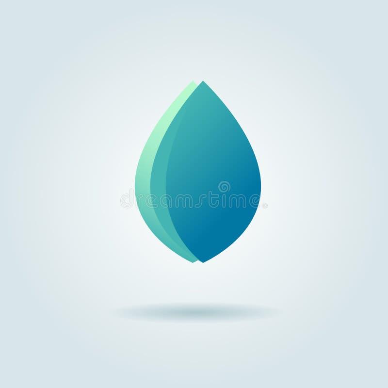 Wektorowy loga projekta szablon Abstrakcjonistyczna błękitne wody ilustracji