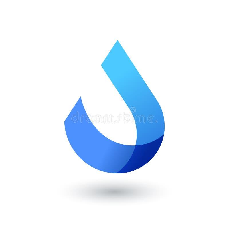 Wektorowy loga projekta szablon Abstrakcjonistyczna błękitne wody kropla, falowy kształt royalty ilustracja