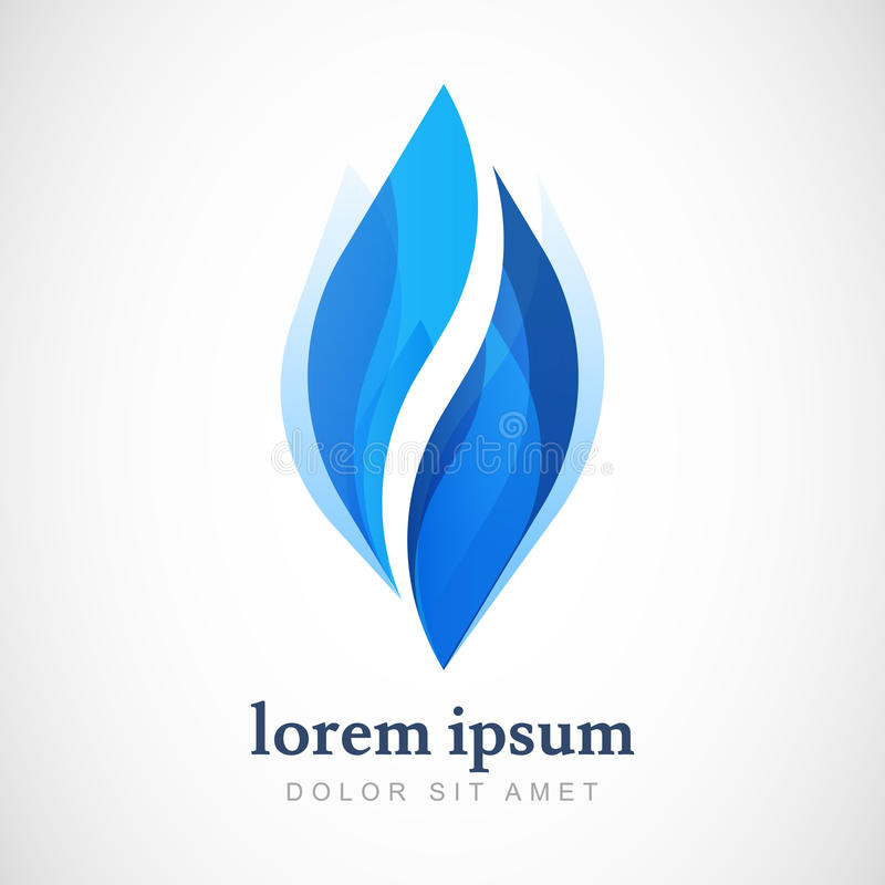 Wektorowy loga projekta szablon Abstrakcjonistyczna błękitne wody kropla, falowy shap royalty ilustracja