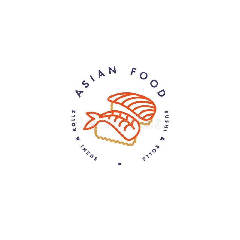 Wektorowy loga projekta szablon, emblemat i odznaka Azjatycki jedzenie - suszi i rolka Liniowi logowie, złoto i czerwony kolor, royalty ilustracja