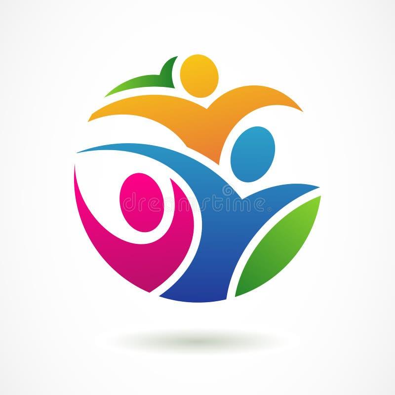Wektorowy loga projekta szablon Kolorowi abstrakcjonistyczni szczęśliwi ludzie royalty ilustracja