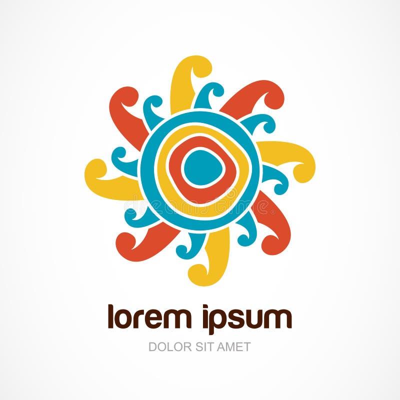 Wektorowy loga projekta szablon Kolorowy doodle słońce Projekta pojęcie ilustracji