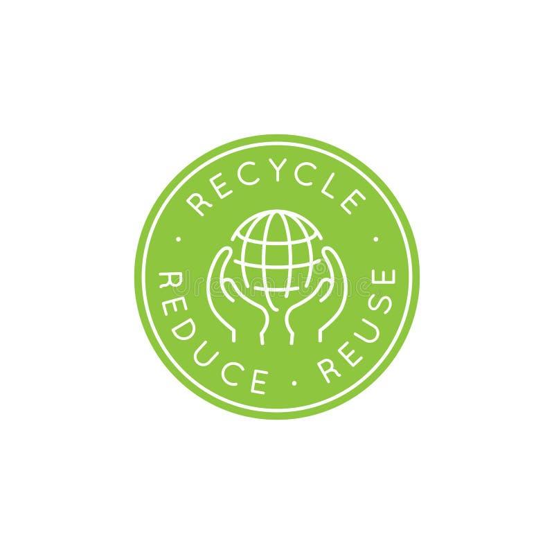 Wektorowy loga projekta szablon - przetwarza i reuse, zmniejsza pojęcie royalty ilustracja