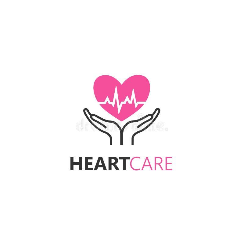 Wektorowy loga projekta szablon w liniowym stylu - ręki trzyma serce ilustracja wektor
