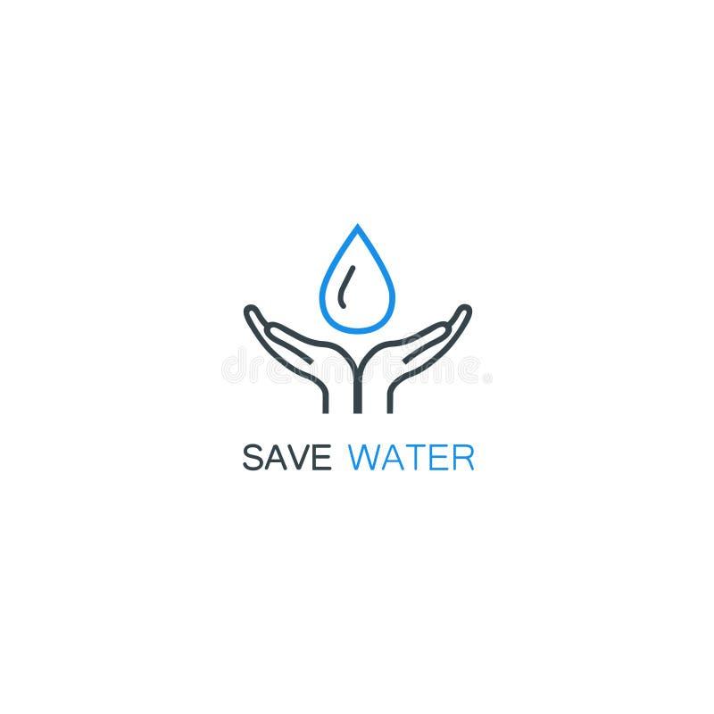 Wektorowy loga projekta szablon w liniowym stylu - ręki trzyma wodę opuszczają royalty ilustracja