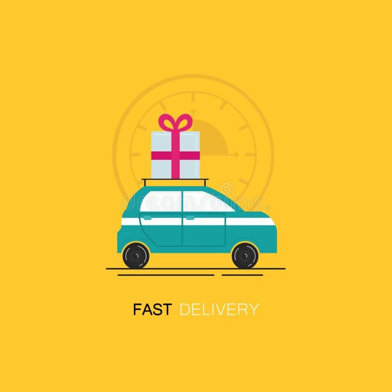 Wektorowy loga projekta szablon w płaskim liniowym stylu - szybki doręczeniowy samochód z giftbox teraźniejszością ilustracji