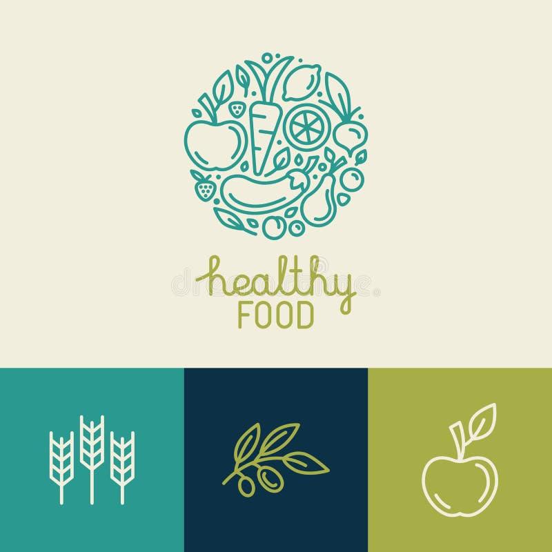 Wektorowy loga projekta szablon z owoc i warzywo ikonami ilustracja wektor